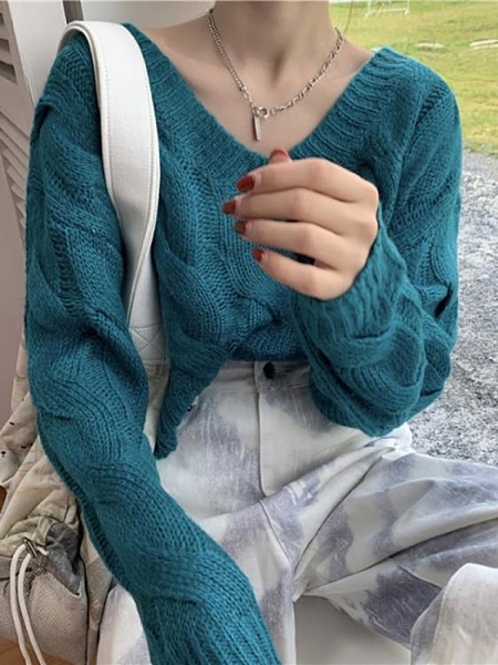 秋冬2021新款v領寬鬆長袖針織短款上衣套頭復古風外套毛衣女外穿 貝芙莉