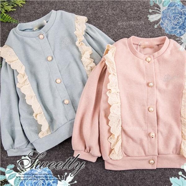 毛料織花珍珠釦長袖外套-2色(300368)【水娃娃時尚童裝】