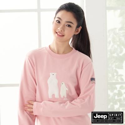 Jeep 女裝 俏皮北極熊圖騰長袖大學T恤-粉紅色