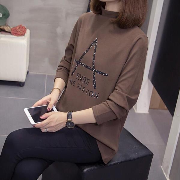 大碼女裝長袖T恤~德絨保暖半高領打底衫女洋氣內搭時尚加絨磨毛上衣女4F031莎菲娜