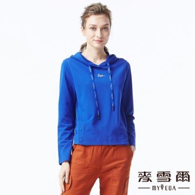 麥雪爾 棉質字母抽繩開衩連帽T恤-寶藍