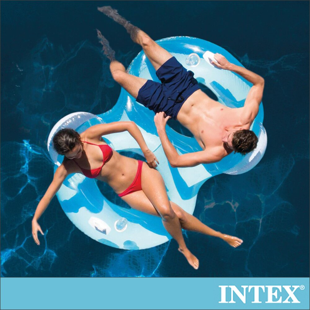 【INTEX】8字型雙靠枕大型浮排198x117cm-適9歲以上(56800)