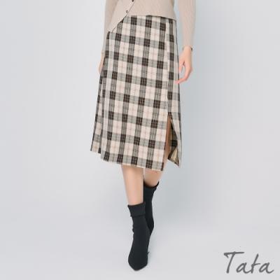 格紋側拉鍊開岔長裙 TATA-F