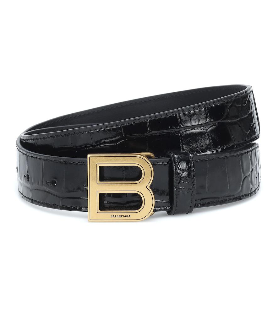 Hourglass croc-effect leather belt