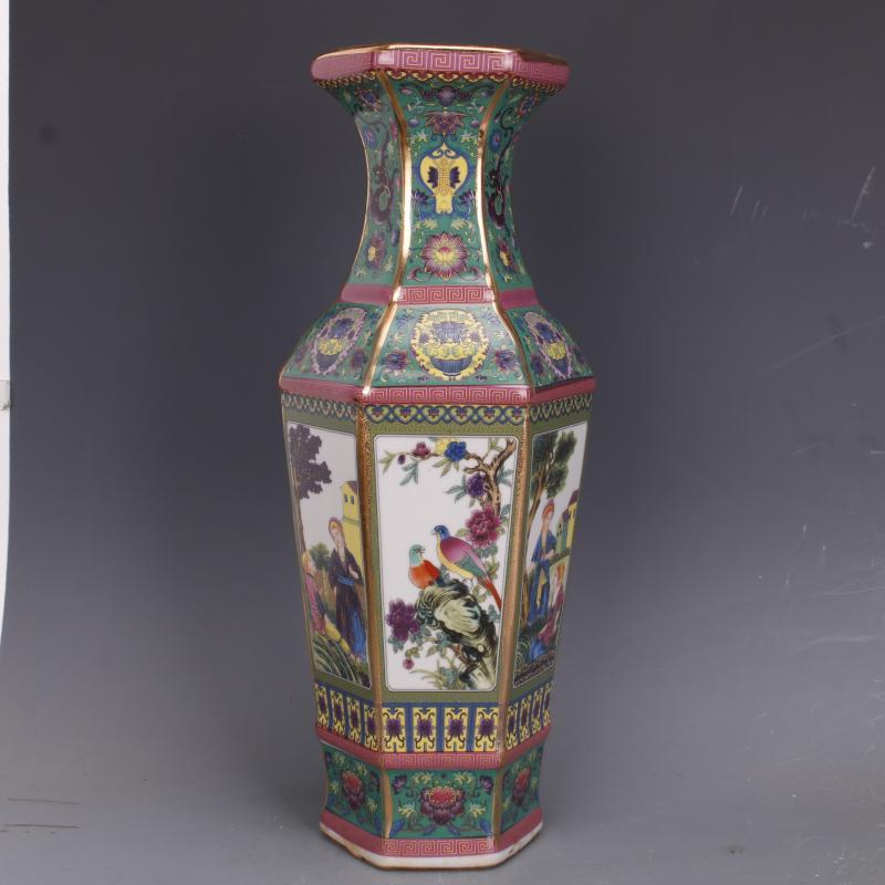 清乾隆描金琺瑯彩西洋人物花鳥六方瓶仿古瓷器家居擺件古董古玩1入