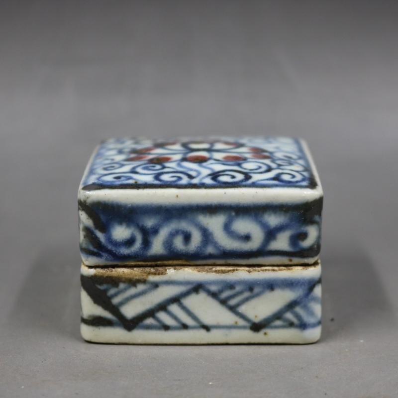 明青花釉里紅纏枝蓮紋四方印泥盒胭脂盒手繪仿古老貨瓷器古董古玩1入