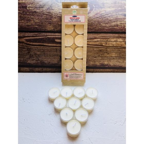 (白)賽巴巴 白色鼠尾草 香氛蠟燭三小時 一盒10個