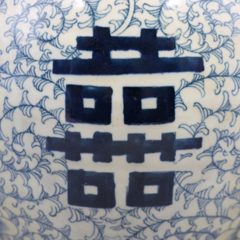 晚清青花瓷纏枝喜字大罐仿古瓷器古董古玩家居擺件舊貨老貨收藏1入