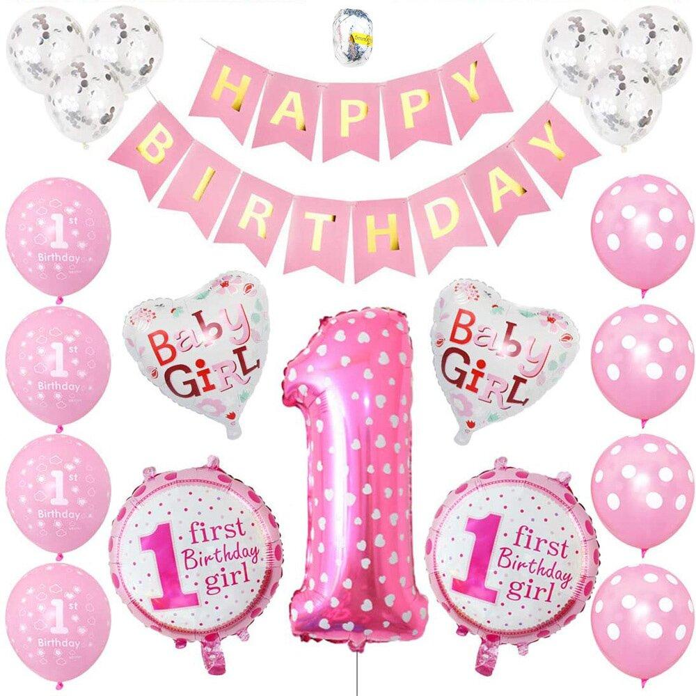 【WIDE VIEW】粉色愛心週歲生日派對氣球套組(BL-10)
