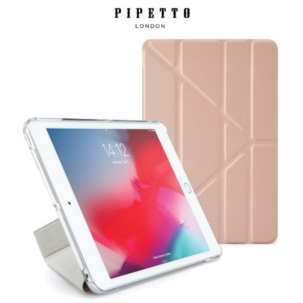 PIPETTO Origami iPad mini (2019)/iPad mini 4 多角度多功能保護套-玫瑰金(透明背蓋)