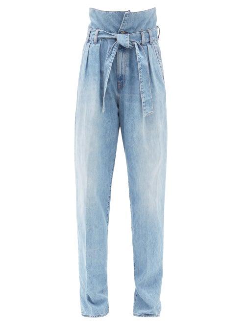 Made In Tomboy - Ylenia Paperbag-waist Straight-leg Jeans - Womens - Light Denim