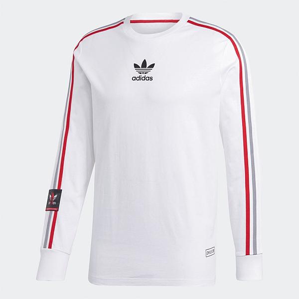 Adidas Originals CHILE 20 TEE 男裝 長袖 T恤 休閒 羅紋袖口 三葉草 白【運動世界】GJ6775