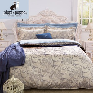 pippi & poppo天絲緹花 兩用被純棉床包組 巴黎樂章5尺