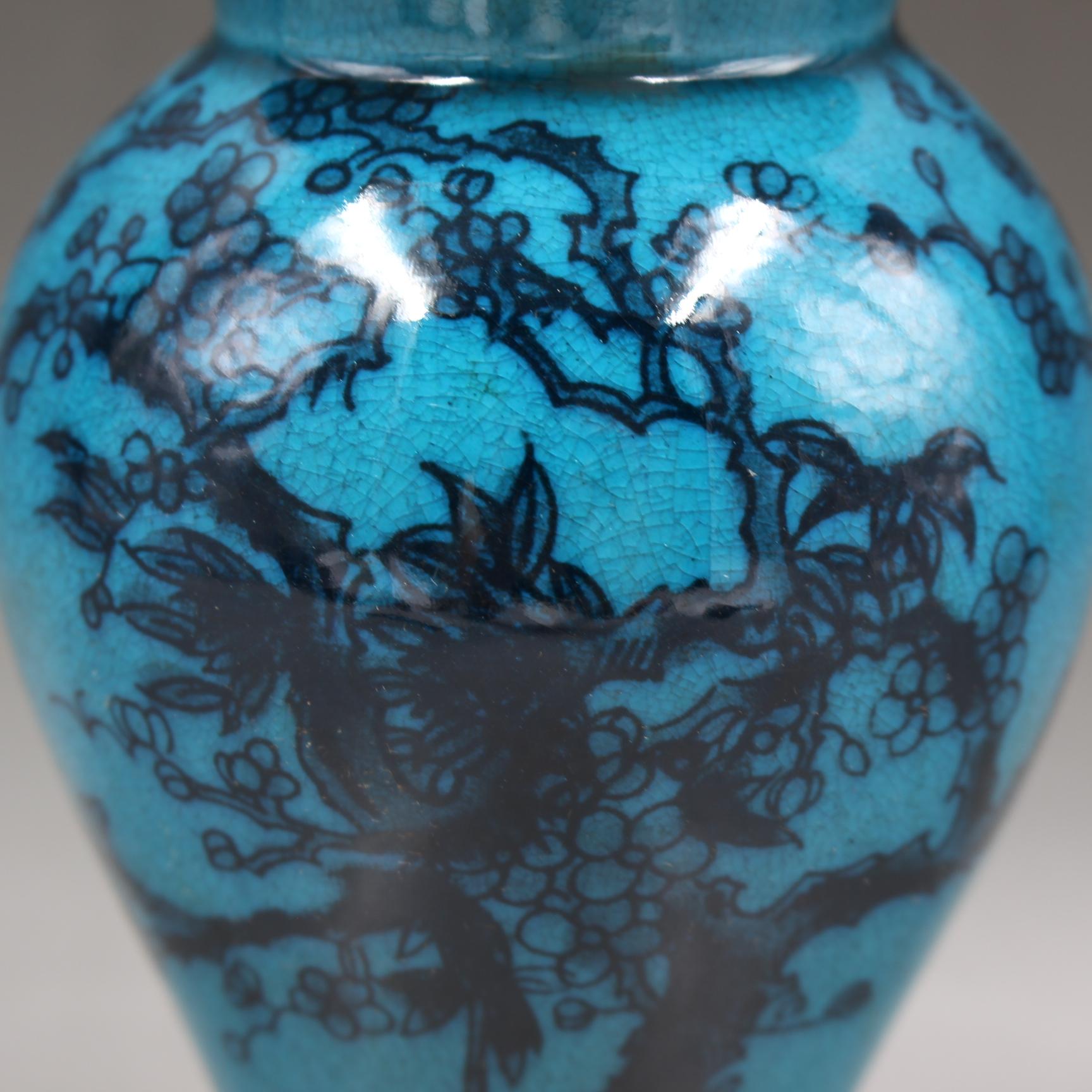 清乾隆年制藍釉墨彩喜上眉梢將軍罐仿古家居瓷器擺件古董古玩收藏1入