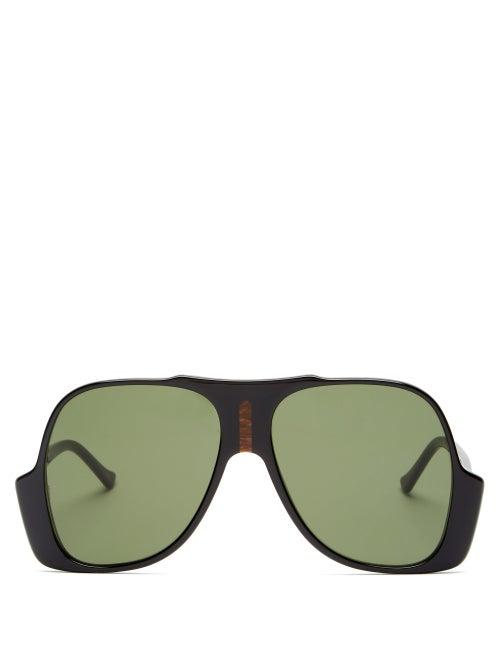 Gucci - Oversized Aviator Acetate Sunglasses - Mens - Black
