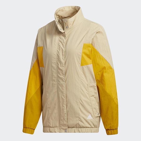 Adidas W MHS WORDING 女裝 外套 風衣 休閒 按扣口袋 羅紋袖口 色塊 卡 黃【運動世界】GF6964