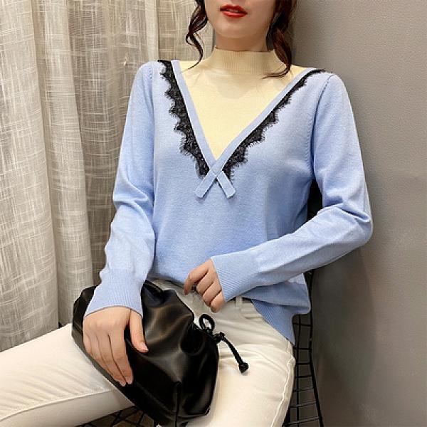 長袖針織衫 大碼女裝毛衣秋冬胖妹妹寬松顯瘦上衣蕾絲花邊長袖針織打底衫F4114依佳衣