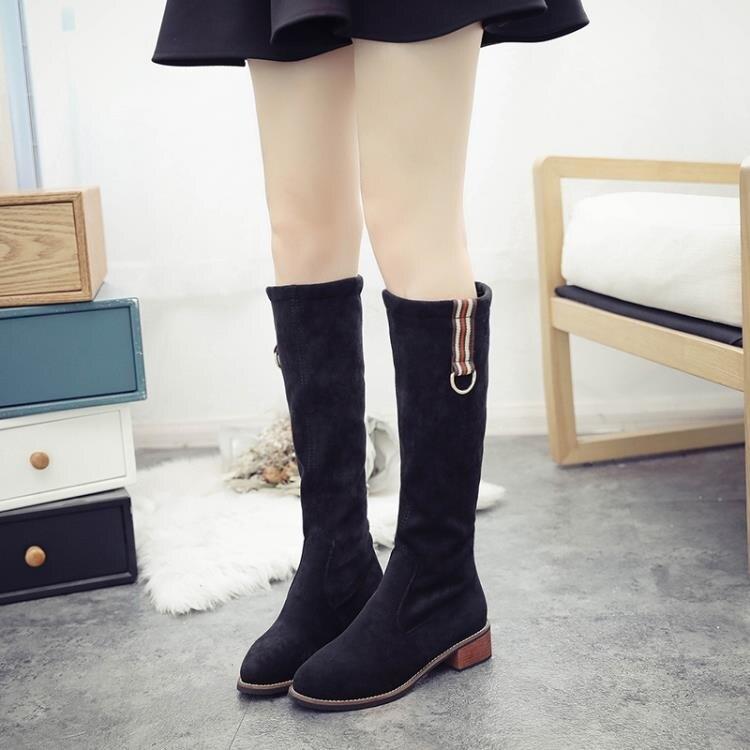 長筒靴女平底2019新款中筒靴女彈力不膝上靴網紅瘦瘦靴高筒靴子  全館免運