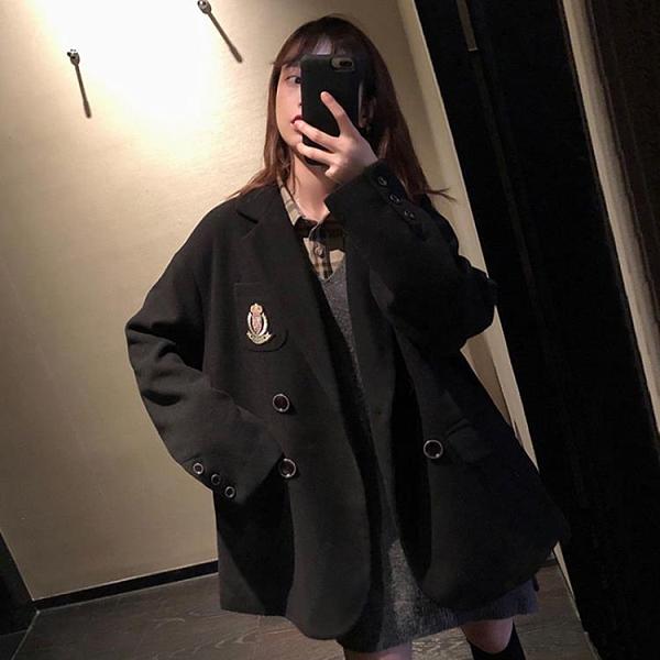 毛呢外套 秋冬2021新款復古毛呢外套女長袖寬松學院風百搭小西裝領黑色大衣 霓裳細軟