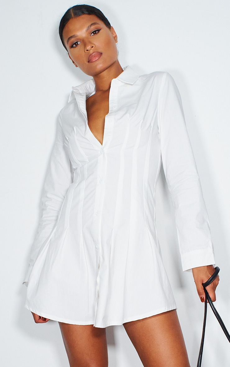 White Pleated Corset Detail Skater Shirt Dress