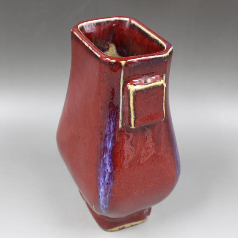 清雍正年制郎紅釉四方瓶仿古老貨瓷器家居文房擺件古董古玩收藏1入