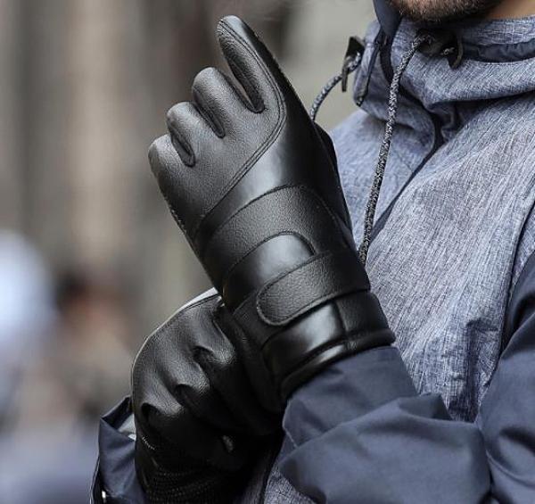 保暖手套 皮手套男士冬季騎行加絨加厚保暖防風寒防水冬天騎車摩托車棉手套 萬聖節狂歡