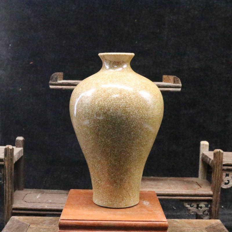 宋官哥窯開片梅瓶 民間收藏品 老貨 仿古瓷器 古董古玩 家居擺1入