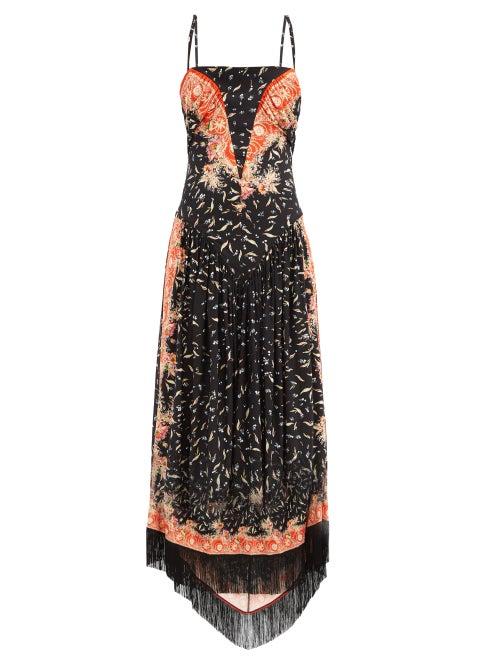 Paco Rabanne - Fringed-hem Floral-print Crepe Dress - Womens - Multi