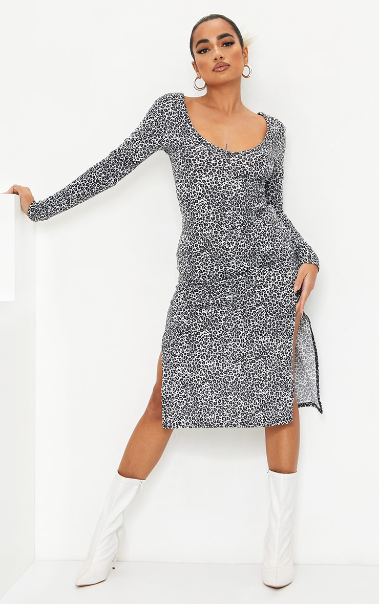 Petite White Long Sleeve Leopard Print Jersey Split Midi Dress