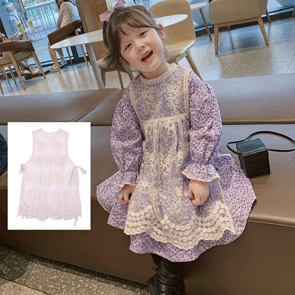 *╮S13小衣衫╭*女童超仙穿搭浪漫花邊蕾絲背心圍裙1091003