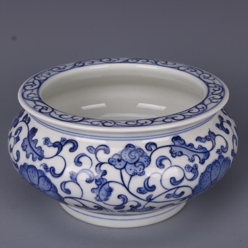 清雍正青花纏枝連紋水洗香爐煙灰缸仿古老貨瓷器家居中式擺件古玩1入