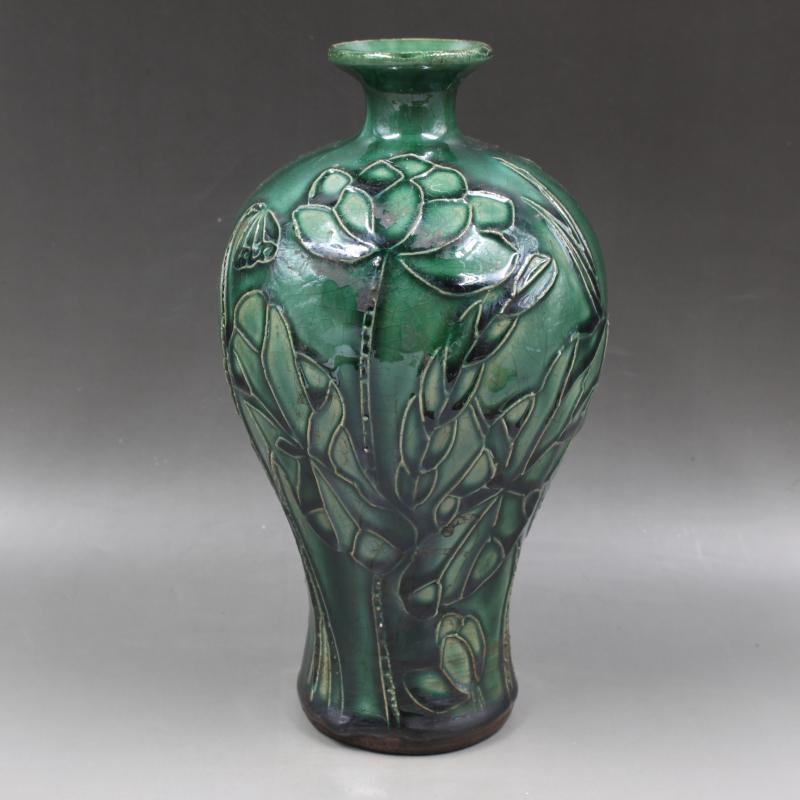 宋吉州窯綠釉雕刻梅瓶仿古老貨瓷器家居景點酒店擺件古董古玩收藏1入