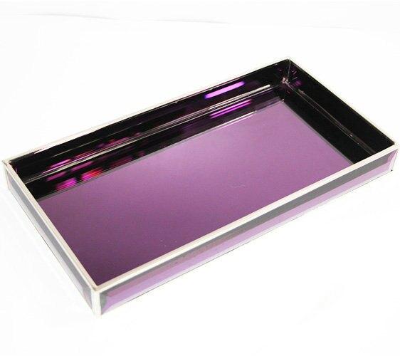 歐式金屬玻璃托盤擺件紫色鏡電鍍餐廳陳設茶盤軟裝家居裝飾品展示