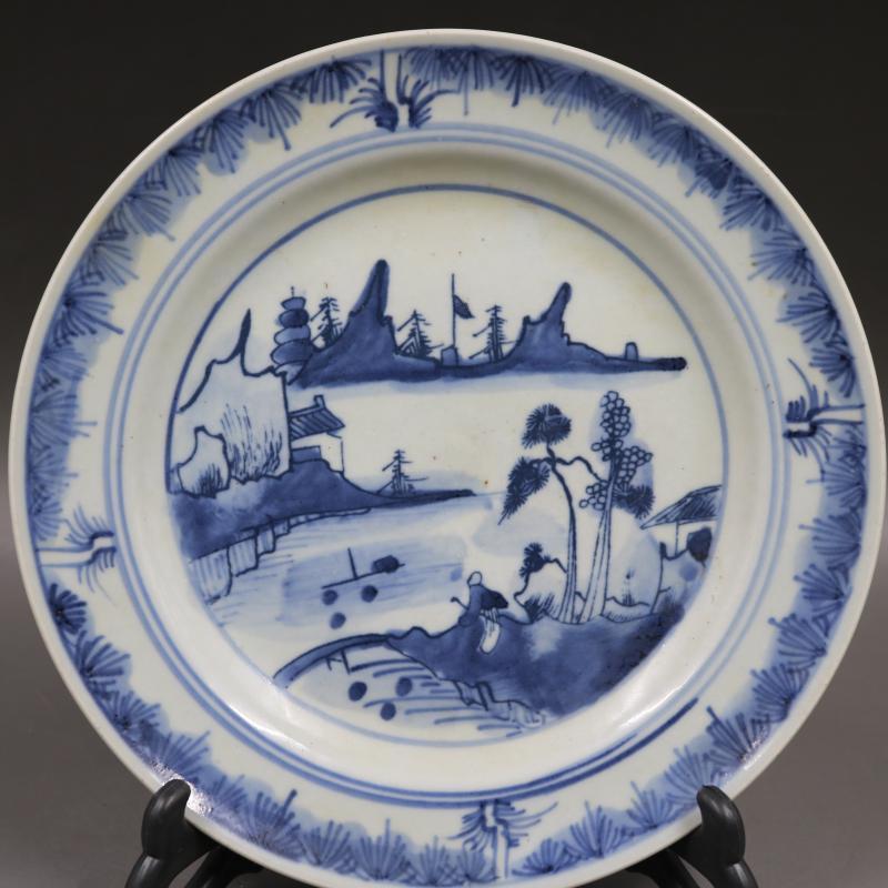 清康熙青花山水人物平盤仿古老貨瓷器家居博古架擺件古董古玩收藏1入