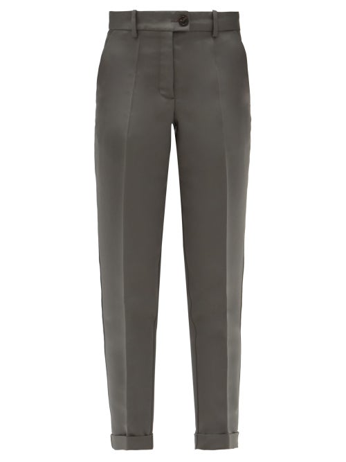 Zanini - Tailored Cropped Silk-faille Trousers - Womens - Grey