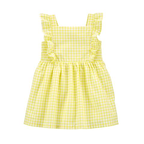 Carter's 台灣總代理  活潑黃色格子短袖洋裝(12M-24M)
