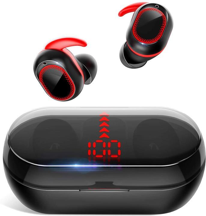 【日本代購】 Bluetooth5.1 瞬時連接 耳機自動配對HiFi高音質完全無線耳機CVC8.0 增壓LED顯示 紅色