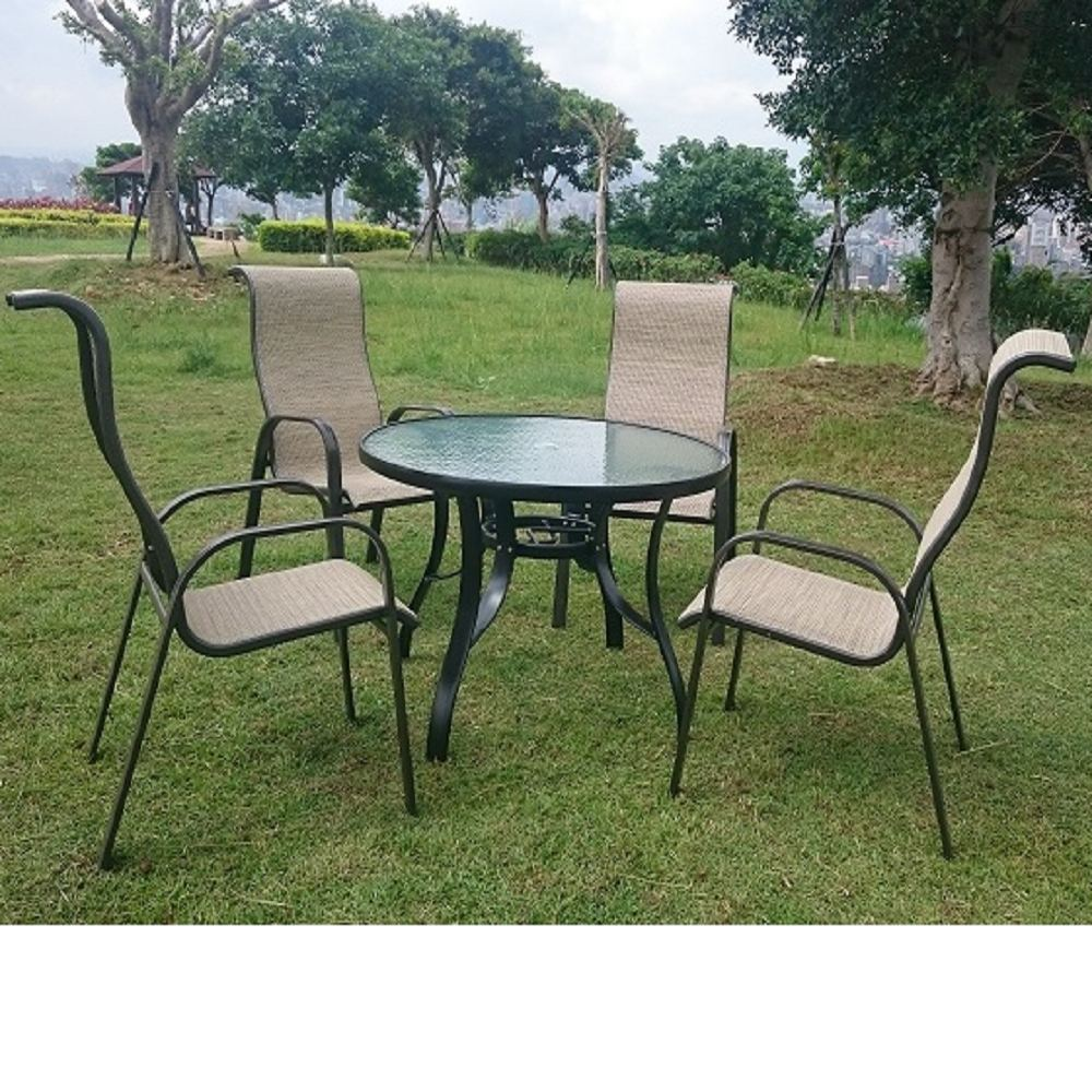 BROTHER 兄弟牌105cm鋁製庭院桌+鋁製高背紗網椅