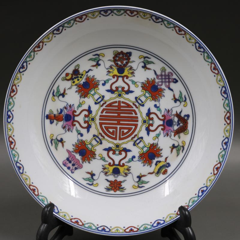 清雍正青花斗彩福壽年年有余擺件盤仿古工藝品瓷器擺件古玩收藏1入