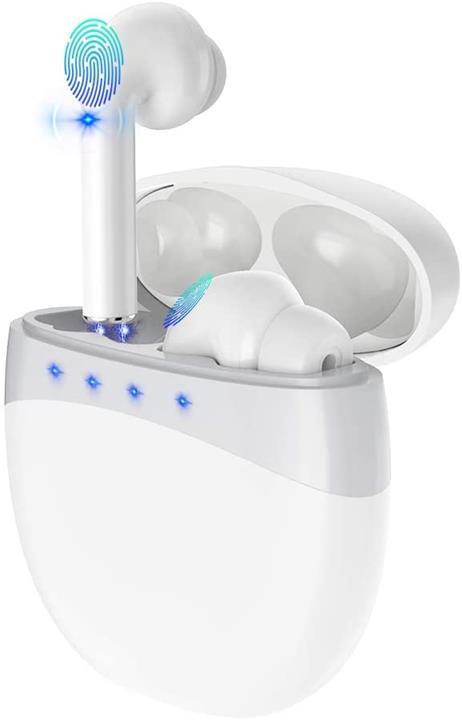 【日本代購】即時連接最新技術 耳機觸屏式適用藍牙5.0+EDR 左/右單獨型電量顯示 適合運動 白色