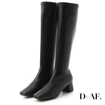 D+AF 冬日女神.素面中車線合腿長靴*黑