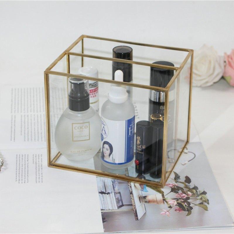 玻璃化妝刷收納桶 桌面橫式2格筆筒收納 玻璃銅條面膜收納盒子