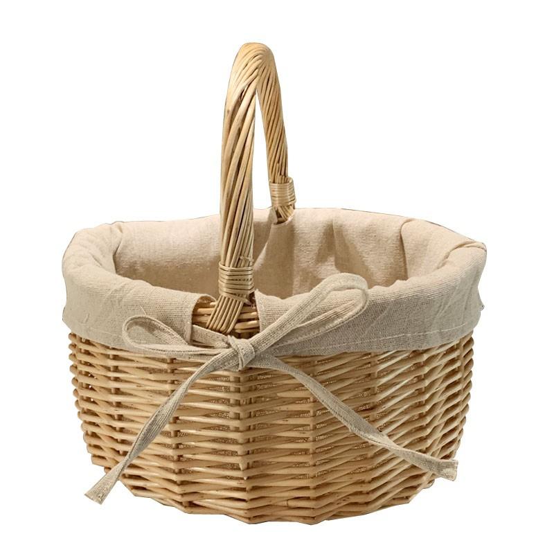 【全館免運】柳編野餐籃手提籃購物籃提籃花籃禮品包裝籃采摘籃子踏青籃野餐籃