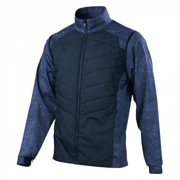 Mizuno [32TE059620] 男 夾克 外套 背心 長袖可拆 防風 防潑 保暖 彈性佳 兩穿 鋪棉 藍
