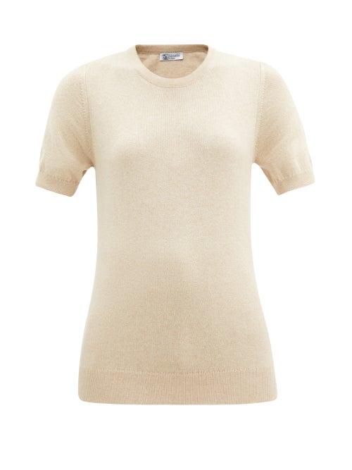 Johnstons Of Elgin - Cashmere Short-sleeved Sweater - Womens - Beige