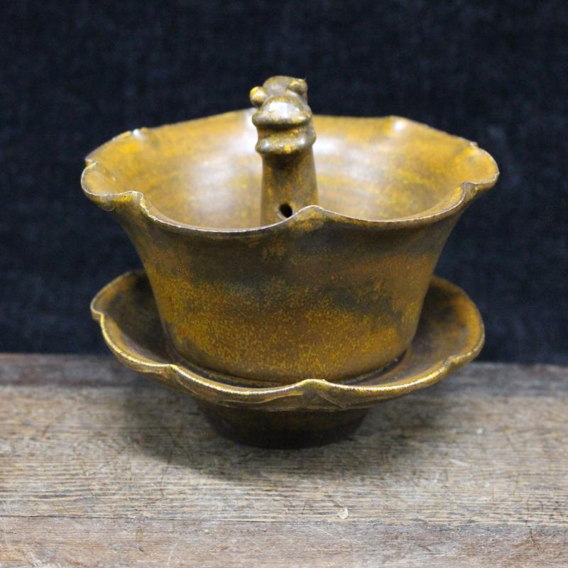 宋磁州窯全手工雕刻蓮花龍頭茶碗 仿古瓷器擺件 古董古玩茶杯1入