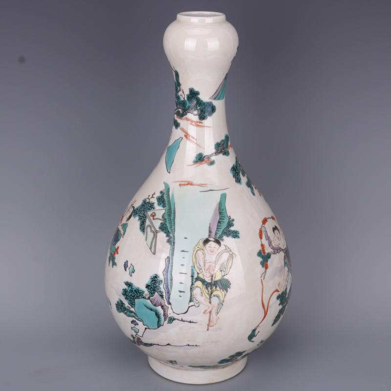 清康熙古彩人物蒜頭瓶仿古工藝瓷器家居中式老貨擺件古董古玩收藏1入