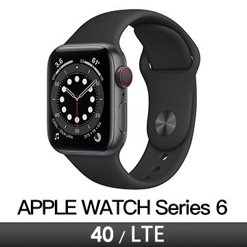 Apple Watch S6 LTE 40/灰鋁/黑運動錶帶(M06P3TA/A)