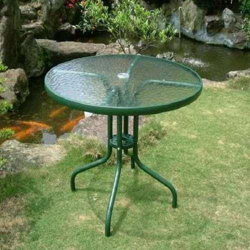 80cm圓型玻璃庭院桌(綠色)