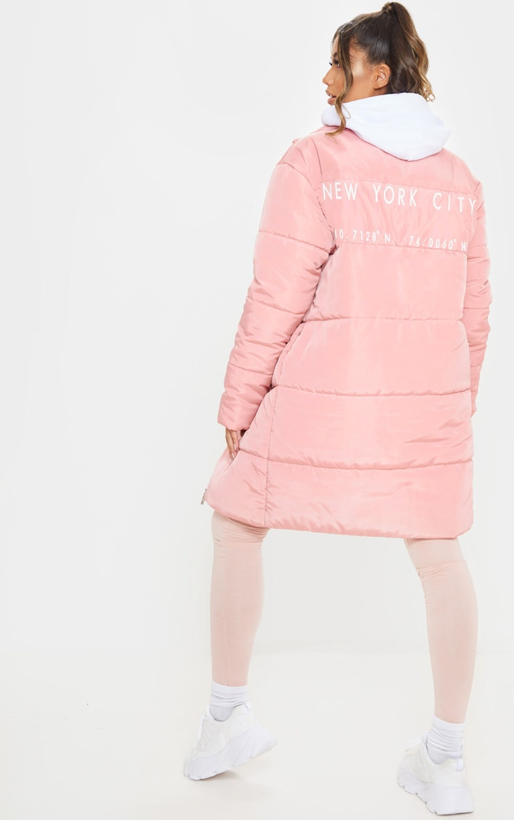 Peach Slogan Midi Oversized Puffer Coat